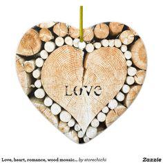 Love, heart, romance, wood mosaic double sided