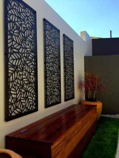 28 ideas of modern garden fence designs for summer ideas 1 Outdoor Decor, Fence Design, Outdoor Wall Decor, Outdoor Walls, Garden Wall Designs, Modern Garden, Wall Design, Building A Pergola, Garden Wall Art
