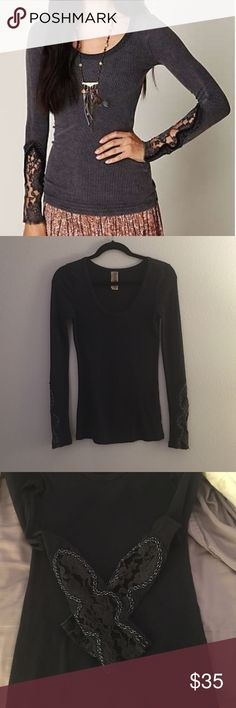 Free People Crafty Cuff Thermal Great condition, there is a small hole in the lace as shown in the last photo. Color of the thermal is darker than the stock photo, more of a faded navy. Free People Tops Tees - Long Sleeve