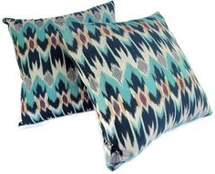 Ikat Pillows, Aqua, Teal, Turquoise, Set of 9 Ikat Pillows, Cute Pillows, Home Decor Inspiration, Color Inspiration, Motif Ikat, Turquoise Pillows, Studio Apt, Cotton Sheets, Pillow Covers