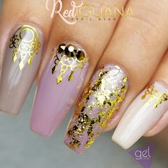 21 Stunning Gold Foil Nail Designs to Make Your Manicure Shine ★ Nude Nails Designs with Gold Foil Picture 4 ★ See more: http://glaminati.com/gold-foil/ #goldfoilnails #goldfoilnailart