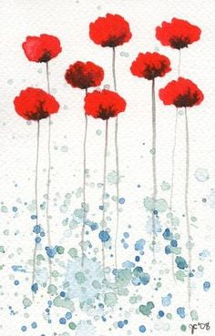 Bright and Sunny Day -- Red Flowers -- Original Watercolor Painting 4x6. $15.00, via Etsy. by mutka