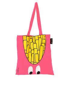 Shopper bag by Lazy Oaf. Crafted in pure cotton. Featuring a rectangular main, two shoulders straps, open top, embroidered brand tag to the side, and a graphic French fries with logo detailing.