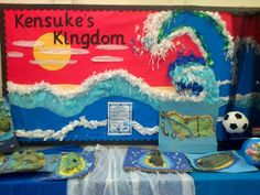 My classroom display - Kensuke's Kingdom. Poem - The Deep Blue Sea by Year 6 pupil. Papier-mache island models by Year 6 pupils.
