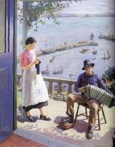 Harold Harvey: La puerta azul, Newlyn. Arte Campestre