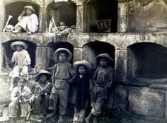 Children working in cemetery during the Mexican Revolution