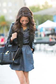 Chambray dress & Black Leather Jacket