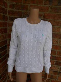 RALPH LAUREN Cable Knit Sweater Size M Pony Logo Top Women White