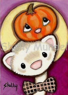 Art by Shelly Mundel. Ferret People  ( Pumpkin Head )  5x7 inch Canvas Cloth…