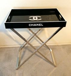 """Fabulous Chanel replica Tray Table, Cocktail Table Serving Tray Butler Stand $500 The tray is gorgeous and removable from the chrome butler stand. Tray itself is 18""""x28""""x3"""". The butler stand is 34"""" tall."""