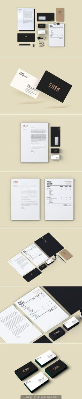 Corporate identity branding business card letterpress notebook minimal craft paper folder flyer stationary graphic design