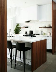 wood white marble kitchen