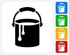 Paint Bucket Icon Flat Graphic Design vector art illustration