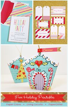 Adorable Holiday Free Party Printables! Invitation, Tags & Ornament by Paper Crave, Living Locurto and PaperGlitter