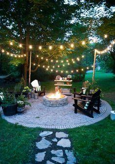 Backyard fire pit ideas diy patio Ideas for 2019 Backyard Seating, Backyard Patio Designs, Fire Pit Backyard, Diy Patio, Diy Fire Pit, Oasis Backyard, Fire Pit Decor, Lights In Backyard, Back Yard Oasis