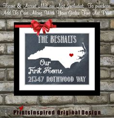 Housewarming Gift Personalized State Map Print: Quote Location New Address Names Our First Home Unique Chalkboard Style Wall Art Home Decor