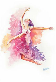 Wall Art Poster Print, Watercolor Dancer, Dancing with Colors Watercolor Dancer, Ballet Painting, Dance Paintings, Ballet Drawings, Dancing Drawings, Art Drawings, Ballerina Art, Ballet Art, Ballet Pictures