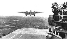 U.S. Army Air Force B–25 takes off from USS Hornet during Doolittle Raid against mainland Japan, April 1942 [U.S. Navy]