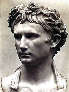 *AUGUSTUS (63BC-14CE) was the founder of the Roman Empire.  He was a son of Atia Balba Caesonia, & inherited the celebrated Caesar name from his great-uncle (& rumored lover) Julius.  Augustus was always insecure about his rich but plebeian genealogy.  He adopted Tiberius, the unrelated son of his aristocratic 3rd wife, but after Tiberius' death, hereditary rule reverted through Augustus' 2nd wife, Scribonia, & through his sister, Octavia the Younger.