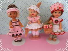 "Crochet Doll Clothes 3 Outfits for 4 ½"" Kelly Same Sized Dolls 