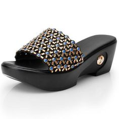 GKTINOO Women Slippers 2019 Summer Shoes Wedges Slippers Women Crystal Platform Ladies Slip On Open Toes Shoes For Women Slides Outfit Accessories From Touchy Style. Open Toe Shoes, Wedge Shoes, Discount Womens Shoes, Girls Dress Shoes, Rhinestone Shoes, Crystal Shoes, Women Slides, Fashion Sandals, Ladies Slips