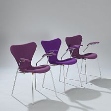A set of three armchairs with chromium-plated steel frames, seat, back and armrests with purple wool. - Bruun Rasmussen Auctioneers of Fine Art Fritz Hansen, Arne Jacobsen, Armchairs, Steel Frame, Madness, Plating, Frames, Fine Art, Wool