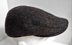 Black WEATHERPROOF Herringbone100% WOOL Cabbie Newsboy Hat Cap size Medium M…