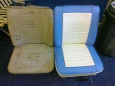 Vw camper seat with stitched logo detail Car Seat Upholstery, Garden Table And Chairs, Smart Car, Vw Camper, Floor Chair, Suitcase, Car Seats, Classic Cars, Reading Chairs