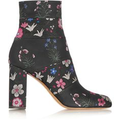 Valentino Spring Garden brocade ankle boots (16 620 UAH) ❤ liked on Polyvore featuring shoes, boots, ankle booties, valentino, black, black booties, black boots, bootie boots, block heel ankle boots and short boots