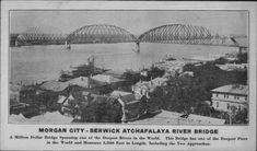 Morgan City - Berwick, Louisiana - Long Allen Bridge Morgan City Louisiana, Louisiana History, Southern Style, Vintage Pictures, Historical Photos, Bridge, River, World, Historical Pictures