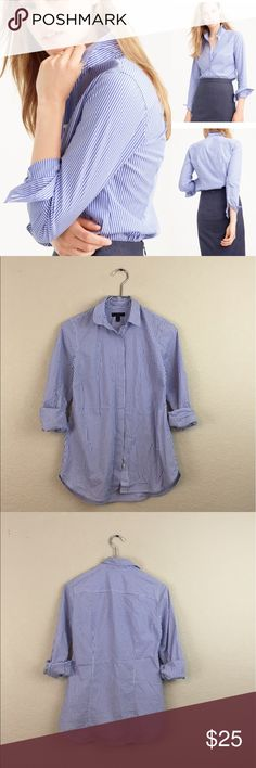 J crew striped shirt • J.crew • Button down • Pre loved no damages • Size 0 • $78 J. Crew Tops Button Down Shirts