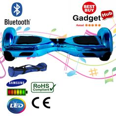 Blue Chrome hoverboard with Bluetooth, the ideal personal transportation gadget is built with Samsung Batteries, CE Certified Plug Charger & Free Carry Bag.