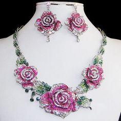 Luxury-Triple-Rose-Flower-Earrings-Necklace-Set-Rhinestone-Crystal-Pink-w-Green