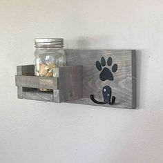 This leash hook + treat jar shelf combo is the perfect gift for your favorite dog lover. This pet accessory stores leashes / collars, and has a shelf to store your pets favorite treats ! Great gift idea for a new pet Puppy Room, Dog Leash Holder, Dog Rooms, Dog Crafts, Pet Furniture, Dog Signs, Animal Decor, Pet Accessories, Pet Shop