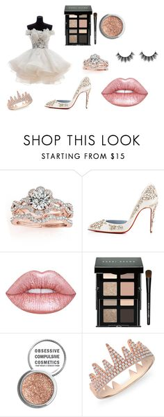 """Fairy princess bride"" by glitterunicorn13 ❤ liked on Polyvore featuring Allurez, Christian Louboutin, Lime Crime, Bobbi Brown Cosmetics, Obsessive Compulsive Cosmetics and Anne Sisteron"