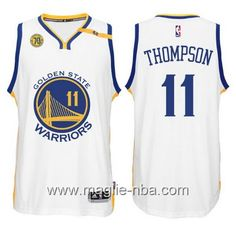 8e6198d476ec Keep on trusting your idol with Golden State Warriors Anniversary 42 Patch  Swingman Home White Jersey Klay Thompson