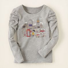 girl - long sleeve tops - shirred London graphic tee | Children's Clothing | Kids Clothes | The Children's Place