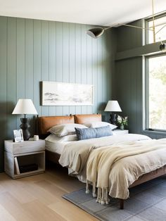 Home Interior Living Room sage green shiplap in the bedroom.Home Interior Living Room sage green shiplap in the bedroom Sage Green Bedroom, Green Rooms, Green Bedroom Walls, Sage Green Walls, Green Master Bedroom, Green Bedroom Decor, Bedroom Neutral, Green Bedroom Design, Simple Bedroom Design