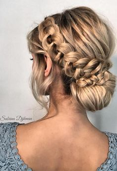 Wedding Hairstyles Updo Long Hair Braids: Braided Hairstyles for Long Hair: Dutch Braided Updo Bun - Braids for long hair are the perfect way to keep cool. Click through 57 braided hairstyles for long hair to play around with twists Braided Hairstyles Updo, Braid Bun Updo, Wedding Hairstyles, Cool Hairstyles, Braided Updo, Messy Updo, Dutch Braid Bun, Gorgeous Hairstyles, Updo Hairstyles For Homecoming