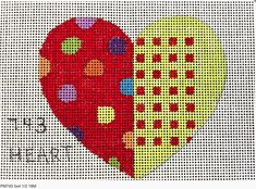 Penny Macleod Needlepoint Patterns, Heart Ornament, Purple, Pink, Cross Stitch, Valentines, Ornaments, Red, Holidays