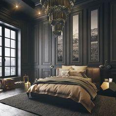 Light, bedding, walls, chandelier