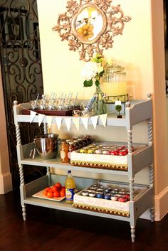 Beverage bar. I love the way that this is set up. Anyone have a spare changing table I can spray paint?
