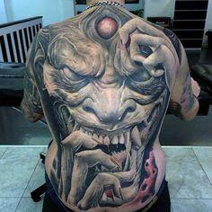 40 Badass Back Tattoos For Men - Masculine Design Ideas - mari Small Back Tattoos, Cool Back Tattoos, Back Piece Tattoo, Cover Up Tattoos, Lower Back Tattoos, Wicked Tattoos, Creepy Tattoos, Boy Tattoos, Sleeve Tattoos
