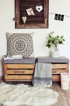 Confira Idéias com Fotos de decoração com caixote de madeira de feira . Ideia de rack e painel , criado mudo, escrivaninha, como usar caixote na cozinha.
