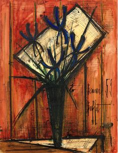 Bouquet de fleur au vase by Bernard Buffet; 1959; gouache, ink and watercolor on paper; 25.2 x 19.7"