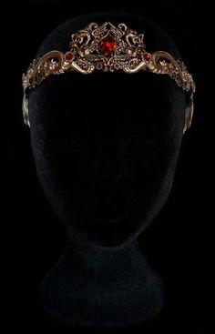 Dragon Queen Crown Medieval Renaissance Circlet Middle Age Tiara Khaleesi Jewellery Daenerys Targaryen Bronze Red Ruby Eragon