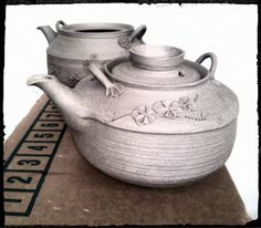 stoneware teapots before firing, handmade by Stepanka Kucerova, Prachatice, Czech rep.