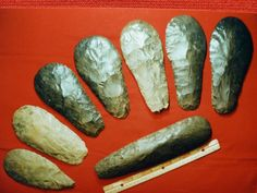 Cache of Mississippian Native American hoes / spades / celt.