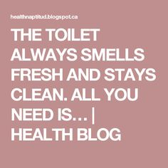THE TOILET ALWAYS SMELLS FRESH AND STAYS CLEAN. ALL YOU NEED IS… | HEALTH BLOG