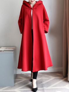 Solid Red Buttons Hooded Pockets Long Sleeve Loose Cloak For Women Cheap - NewChic